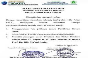 Ponpes Lirboyo Perintahkan Dukung Jokowi