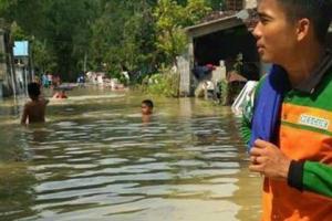Luapan Kali Lamong Rendam 3 Desa di Mojokerto