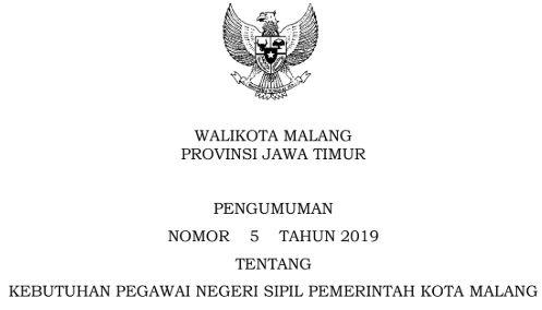 Rincian Kebutuhan PNS Kota Malang 2019